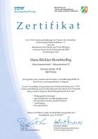 Zertifikat für besondere Ausbildungsqualität im Bereich der rechnergestützten Fertigung